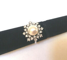 FRANKLIN MINT 14K Solid White Gold Diamonds Pearl Snow Flake Ring Size 7.5