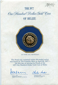 1977 $100 Proof Belize One Hundred Dollar .500 Gold Coin From The Franklin Mint