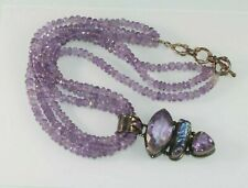 VINTAGE Artisan STERLING SILVER Amethyst Abalone Pearl Large Statement Necklace
