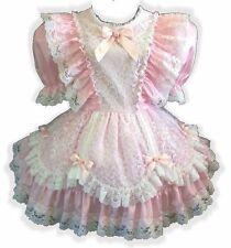 """Laura"" Custom Fit PINK Satin & LACE Adult LG Baby Sissy Dress LEANNE"
