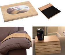 Flexible Wood Sofa Chair Arm Rest Tray Drink Snack Serving Tray Media Organiser