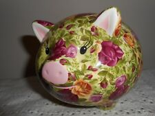 Rare ~ ROYAL ALBERT OLD COUNTRY ROSES CHINTZ PIGGY BANK Tags still attached! Exc