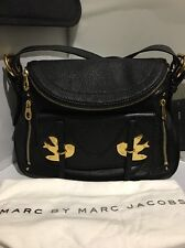 NWT MARC by MARC JACOBS Petal to the Metal Bird Crossbody Leather Handbag BLACK
