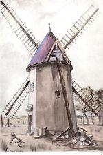 AQUARELLE COULEUR VIEUX MOULIN / Moulin Derambure-Boubert à Woignarue ( somme)