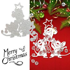 Christmas Three Mice Metal Cutting Die Embossing Stencil Card DIY Craft Animals