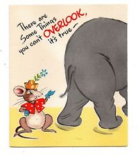 Vintage Gibson Birthday Greeting Card Mouse & Elephant