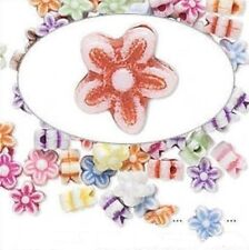 100 Acrylic Double Sided 9x9mm Multi FLOWER Bead Mix *