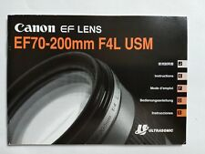 Canon EF 70-200 f/4L USM lens instruction user guide book
