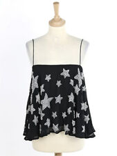 Kate Moss For Topshop Womens Black Star Embellished Crepe Camisole Top Size 6
