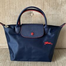 Auth Longchamp Le Pliage CLUB SMALL Navy Blue Nylon Short Leather Top Handle Bag