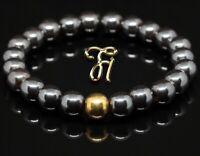 Hämatit 925er sterling Silber vergoldet Armband Bracelet Perlenarmband 8mm