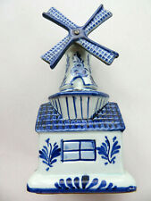 Delft Porcelain Windmill Music Box Tulips From Amsterdam Handpainted Holland