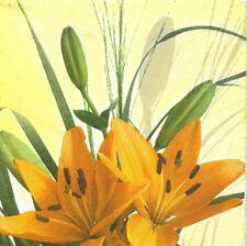 2 Serviettes en papier Fleurs Lys orange Decoupage Paper Napkins Flower Lily