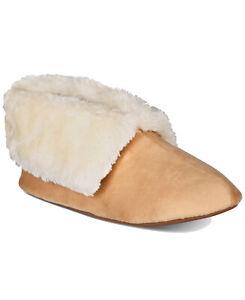CHARTER CLUB Plush faux-fur trim bootie slippers with Memory Foam -Tan XL(11-12)