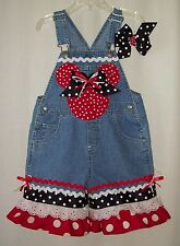 Custom boutique Disney Minnie Mickey overalls with hair bow all sizes available