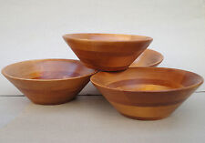 Baribocraft Salad Bowl set 4 Small Cone Shape Dark Blonde Maple Wood c1970s Vtg