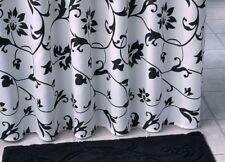 Rideau de douche en tissu noir blanc & LUNETTE WC ornement en jeu