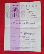 1935 GRAND OPERA SUMMER SEASON LA SCALA OPERA CO MADAM BUTTERFLY PROGRAM