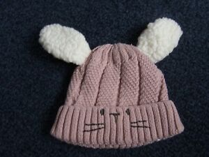 so cute Next baby hat 0 - 3 months ears and pussy cat face detail lined
