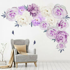 2pcs Removable Purple Peony Flower Wall Stickers PVC Home Room Decor Art Decal