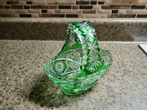 Crystal Glass Basket Handle Candy Nut Dish Oval Dish Vintage Green Tint Clear