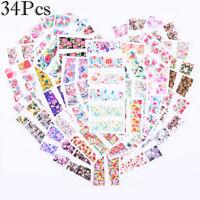 34 Stück Nagel Wasser Sticker Flower Nail Art Tattoo Aufkleber 5.3*6.4cm Decors