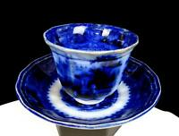 "E CHALLINOR ENGLAND IRONSTONE FLOW BLUE LOZERE DEEP 2 3/4"" CUP & SAUCER  1850"