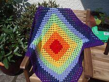 Hand crochet baby blanket in rainbow shades
