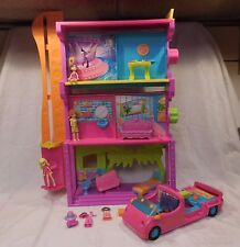 POLLY POCKET Spin N Surprise Hotel Playset + Transforming Hot Pink Car Limo Toy