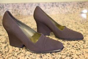 YSL Yves Saint Laurent canvas wedge heel shoe size 7 (sh1000