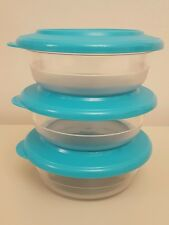 NEW TUPPERWARE KRISTALIN TABLE COLLECTION TURQUOISE BOWL SET (3) 275 ML