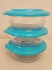 NUOVO Tupperware kristalin Tabella Collezione Turchese Ciotola Set (3) 275 ML