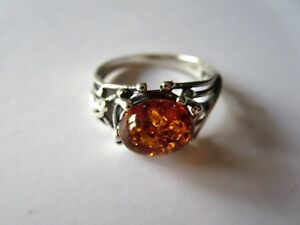 GENUINE BALTIC AMBER  925 STERLING SILVER  RING SIZE O1/2  NEW