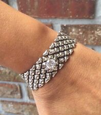 NEW AUTH Liquid Metal Sergio Gutierrez Magnetic Silver Crystal Bracelet RTB5
