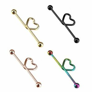 "Heart Ear Industrial Barbell Scaffolding Jewelry 14G 1.5"" 38MM Titanium"