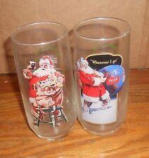 2 Vintage Christmas Santa Claus Glasses Coca-Cola Coke 12oz Give Away Promo