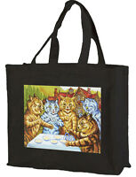 Louis Wain Garden Party Cats Cotton Shopping Bag, With Gusset Choice of Cols.