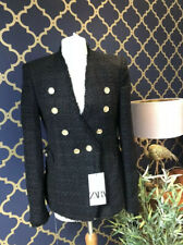 Zara Tweed jacket with buttons black military blazer Xs S M XXL 8296/679