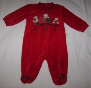 Miniwear Baby's 1st Christmas Velour Sleeper size 3-6 Months