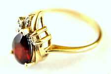 10K Solid Gold, Natural Garnet and Diamond Ring Size 6 3/4