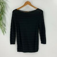 Ann Taylor Loft Womens Pullover Sweater Size S Black Stripe Rayon Knit Boatneck