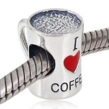 Love Coffee Cup Of Coffee Charm Bead 925 Sterling Silver