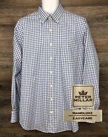Peter Millar Nano Luxe Men's White Blue Plaid Long Sleeve Button Down Shirt L