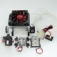 Water Cooling Kit 120 Radiator CPU GPU Block Pump Tank Reservoir Tubing Red LED