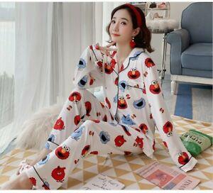 Ladies Women Pyjamas Set Long Sleeve Night wear Lounge Wear Pajamas Pjs Sleep D0