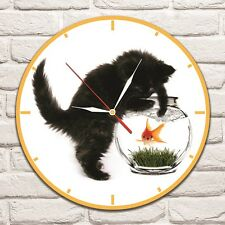 Cat with Gold Fish design vinyl record wall clock home art shop office hobby vet