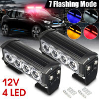 2pcs 12V 4 LED Car Truck Strobe Flash Grille Light Warning Hazard Emergency