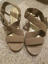 Connie Womans Sandals 11m Strappy Slides Heels beige