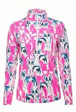 NWT IBKUL Icikuls FRENCHIE Hot Pink Long Sleeve Mock Golf Shirt - L XL & XXL