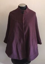 Helene Berman Burgundy Wine Wool Cape Coat Designer Jacket Cardi Sz Small/Medium